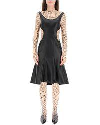 Marine Serre Half Moon Leather Dress - Zwart
