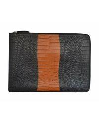 Dries Van Noten Croc Print Leather Folio Ipad Case - Bruin