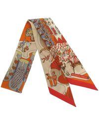 Hermès Foulard en soie Twilly Exposition Universelle - Orange