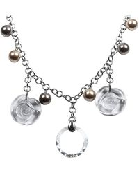Dior Collier de perles de verre rose - Gris