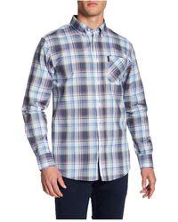 Ben Sherman Long Sleeve Summer Check Shirt - Blauw