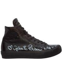 Gabriele Pasini High top leather trainers - Noir