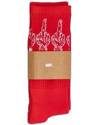 Obey The Bird socks Rojo