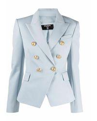 Balmain Pale Blue Grain De Poudre Double-breasted Jacket - Blauw