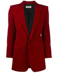 Saint Laurent Single-breasted Corduroy Jacket - Rood