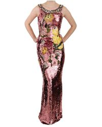 Dolce & Gabbana Crystal Sequined Tulip Sheath Gown Dress - Roze