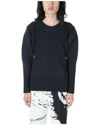 Issey Miyake Plissé Pleated Long Sleeve T-Shirt - Nero