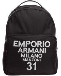 Emporio Armani Men's Rucksack Backpack Travel - Zwart