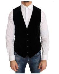 Dolce & Gabbana Velvet Formal Cotton Vest - Nero