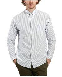 Aspesi Levon Striped Oxford Cotton Shirt - Blauw