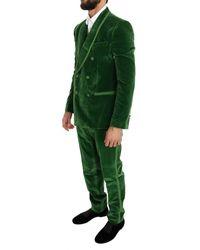 Dolce & Gabbana Terciopelo Slim Fit doble de pecho Traje Verde