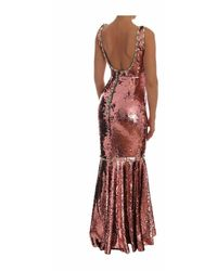 Dolce & Gabbana Crystal Sequined Sheath Gown - Rosa