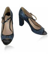 Miu Miu Vintage Glitter Mary Jane Pumps Heels Shoes Size 39 Azul