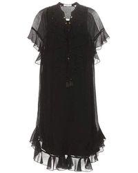 Chloé Plissé Dress - Nero