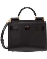 Dolce & Gabbana Women's Leather Handtas Shopping Tas Purse Sicily 62 - Zwart
