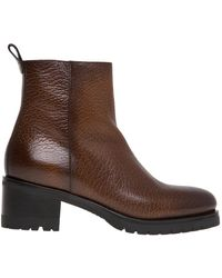 Santoni Leather Ankle Boot With 50 Mm Heel - Bruin
