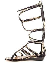 BCBGMAXAZRIA Brixton Leather Gladiator Flat Sandals Beige - Neutro
