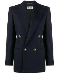 Saint Laurent Long Double-breasted Gabardine Jacket - Blauw