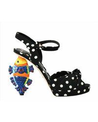Dolce & Gabbana Ankle Strap Sandals Fish Heels - Nero
