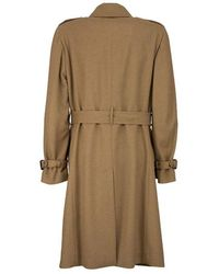 Lardini Double-breasted camel trench coat with belt Marrón