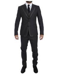 Dolce & Gabbana Gestreepte 3 Piece Slim Suit Tuxedo - Grijs