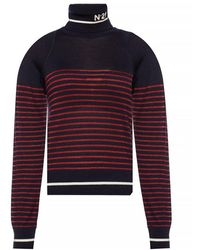 N°21 Patterned Turtleneck Sweater - Blauw