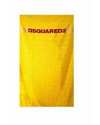 DSquared² Drap De Bain À Gros Logos - Geel