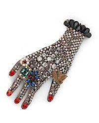 Gucci Hand Crystal Embellished Brooch - Grijs