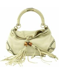 Gucci Pre-owned bamboo tassel hobo bag condition very - Bianco