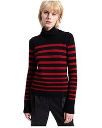 Barbara Bui Striped Turtleneck Cashmere Sweater - Zwart