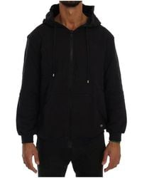 Daniele Alessandrini Full Zipper Hodded Cotton Sweater - Blauw