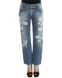 John Galliano Boyfriend Fit Cropped Jeans - Blu