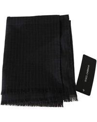 Dolce & Gabbana Wool Striped Pattern Wrap Scarf - Grigio