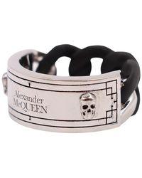Alexander McQueen Identity Ring - Zwart