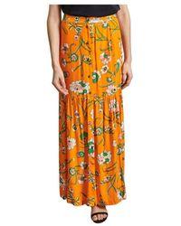 La Petite Francaise Judicieuse Long Skirt With Floral Print - Oranje