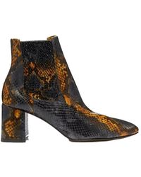Miista Beta Umber Snake Effect Leather Boots - Zwart