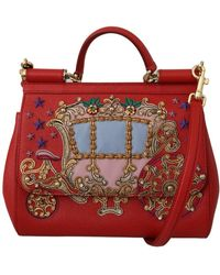 Dolce & Gabbana Leather Carriage Sicily Bag - Rood