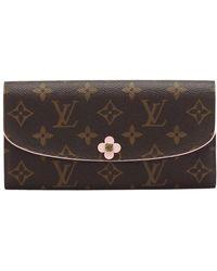 Louis Vuitton Tweedehands Monogram Emilie Bloom Lange Portemonnee Canvas - Bruin