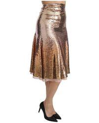 Dolce & Gabbana Sequined High Waist Midi Skirt Beige - Marrón