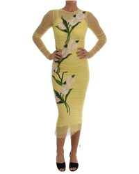 Dolce & Gabbana Floral Tulip Stretch Dress - Geel
