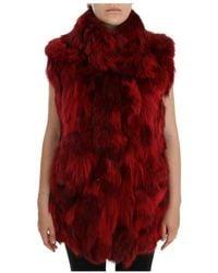 Dolce & Gabbana Coyote Fur Sleeveless Jacket - Rood