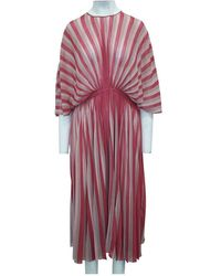 Dior Striped Pleated Dress Rosa