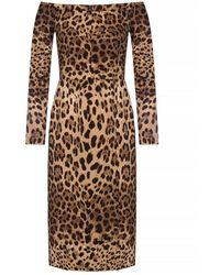Dolce & Gabbana - Abito fantasia con spalle scoperte - Lyst