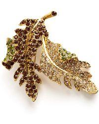 Kenneth Jay Lane Vintage - Sparkling Leaf Brooch - Lyst