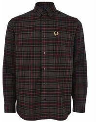 Fred Perry Tonal Tartan Shirt M2689 102 - Zwart