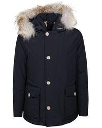 Woolrich Polar Parka With High Collar And Removable Fur - Blau