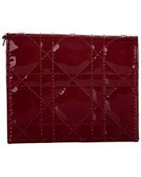 Dior Tweedehands Cannage-portemonnee Van Lakleer - Rood