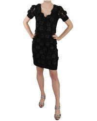 John Richmond Silk Leather Flowers Sheath Dress - Noir