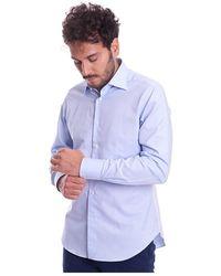 BRANCACCIO Microfantasy Shirt With Italian Collar - Blauw