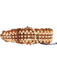 Dolce & Gabbana Raffia Wood Beaded Wide Waist Belt - Bruin